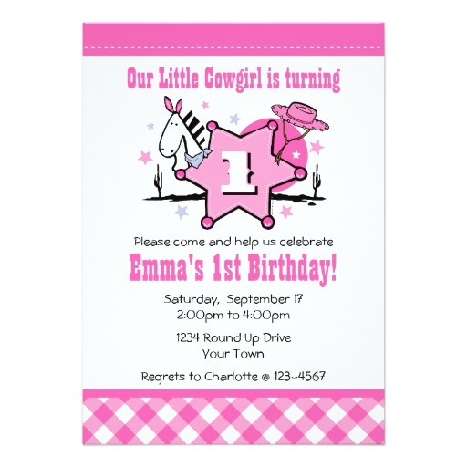 little cowgirl 1st birthday party invitation 161473402352268163
