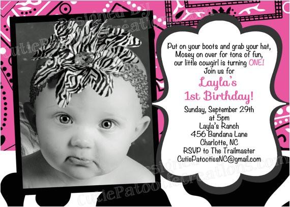little cowgirl birthday invitation pink