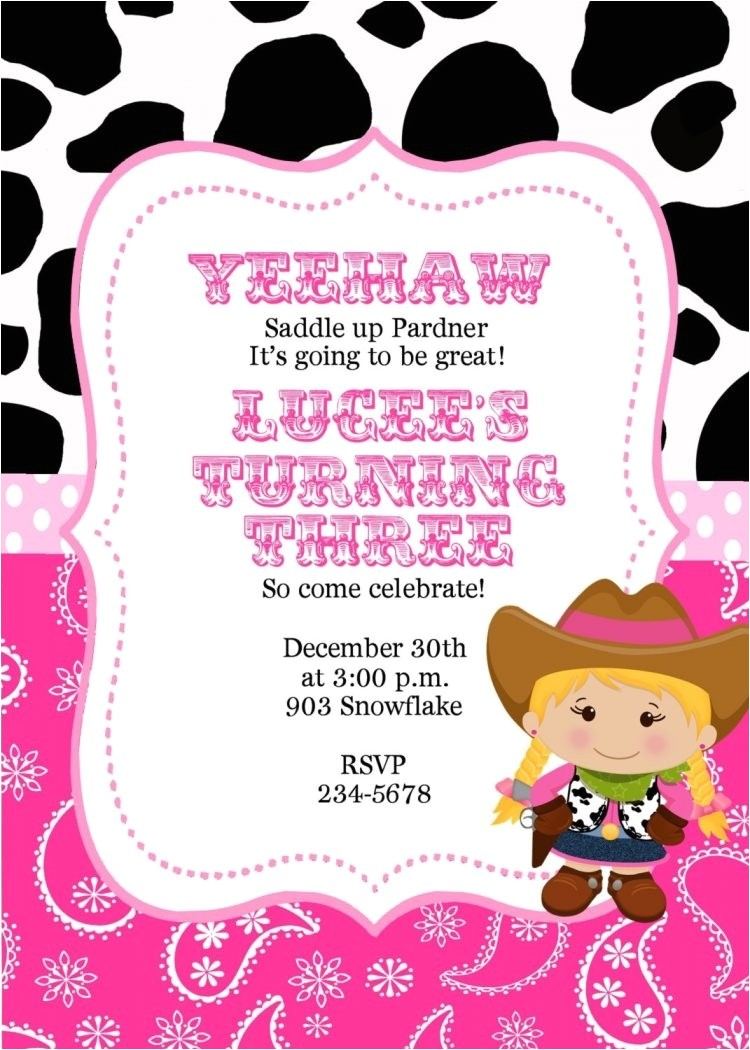 cowgirl invitations template
