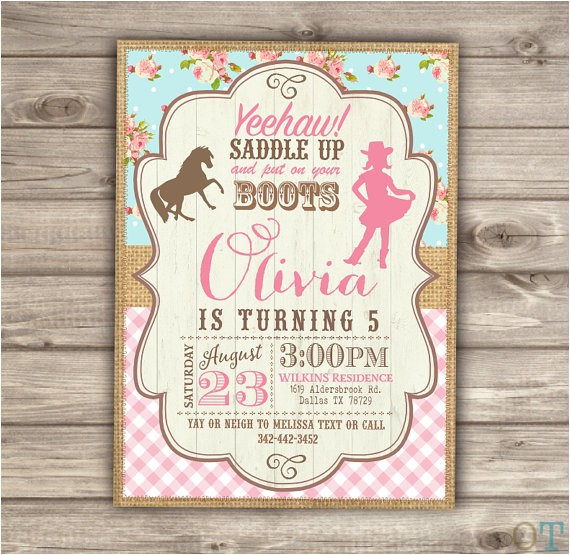 horse cowgirl invitation template