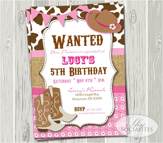 pink cowgirl party invitation birthday
