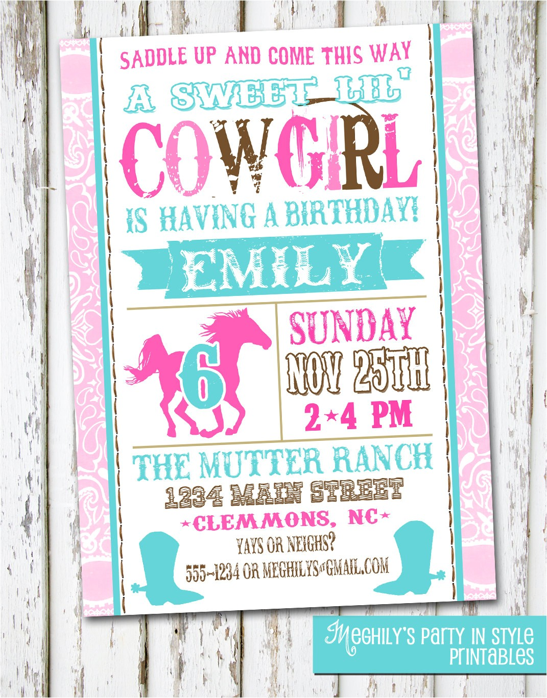 western cowgirl birthday invitation