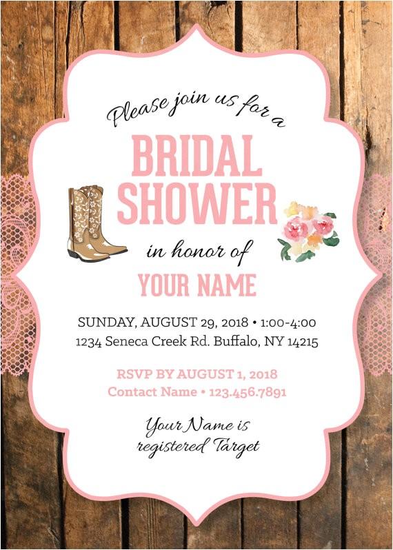 cowgirl bridal shower invitation lace