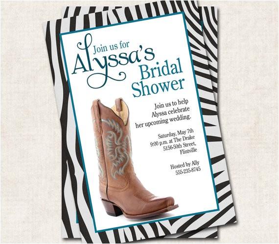 cowgirl bridal shower invitation