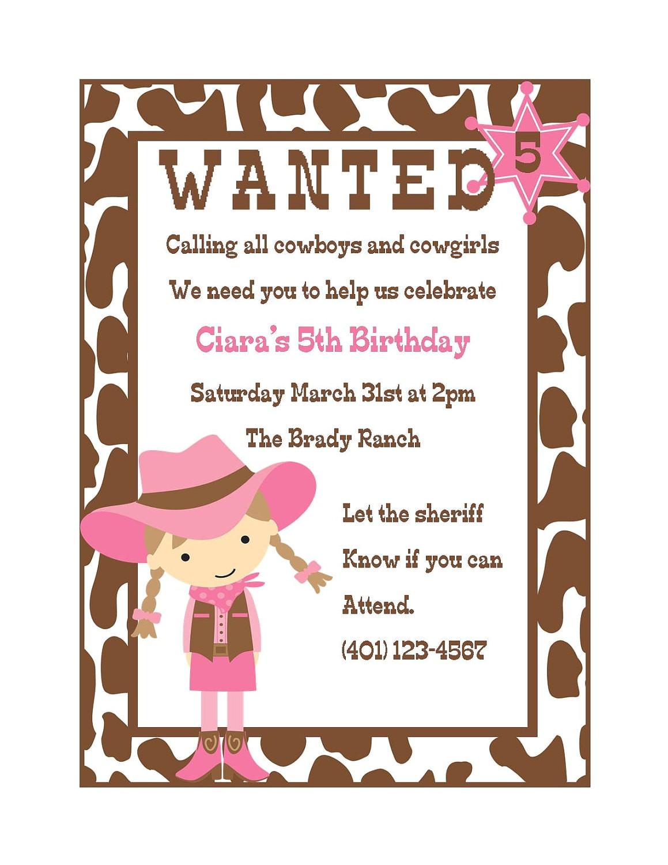 cowgirl birthday invitation digital file