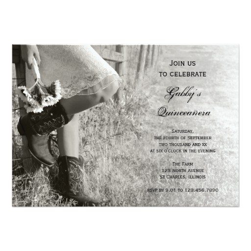 cowgirl and sunflowers country quinceanera invite invitation 161664194082396862