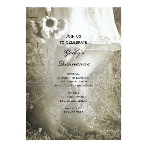 cowgirl and sunflowers country quinceanera invite 161150812454526247