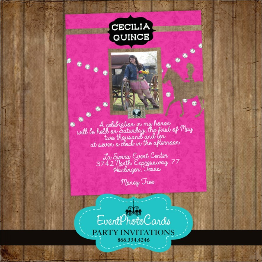 cowgirl western quinceanera invitations
