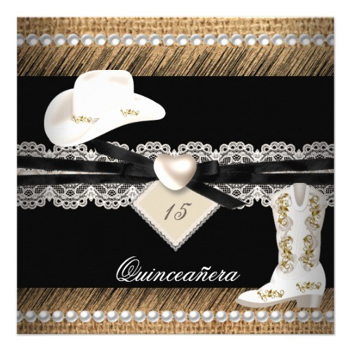 quinceanera rustic burlap cowgirl hat boots party invitation 161420066864898031