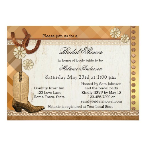country western cowgirl bridal shower invitation