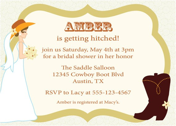 cowgirl bridal shower invitation western