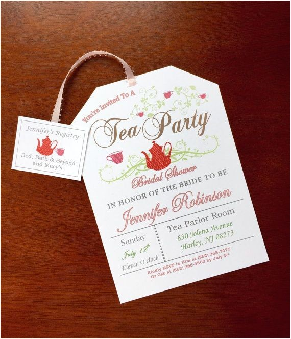 bridal shower tea party invitations