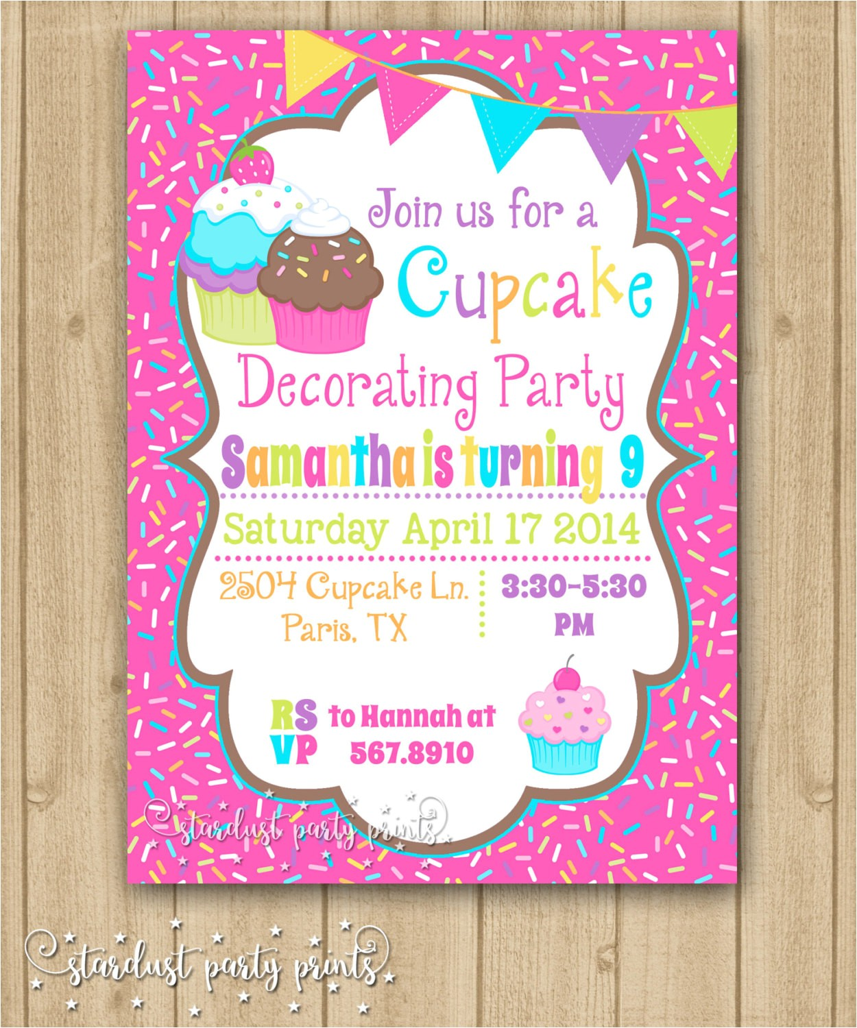 cupcake decorating birthday invitation