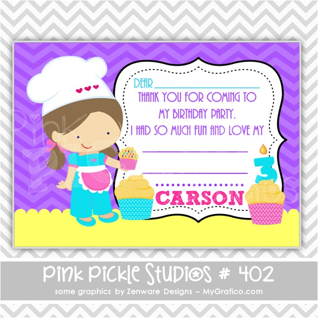 cupcake decorating personalized party invitation