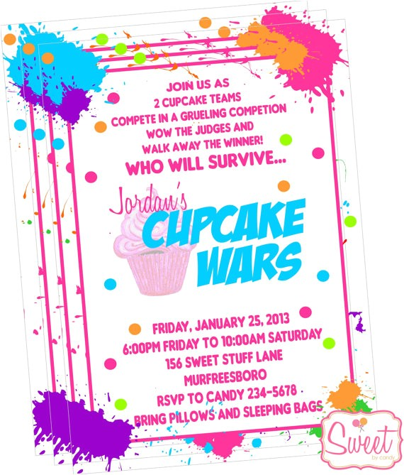 cupcake wars baking party invitation printed