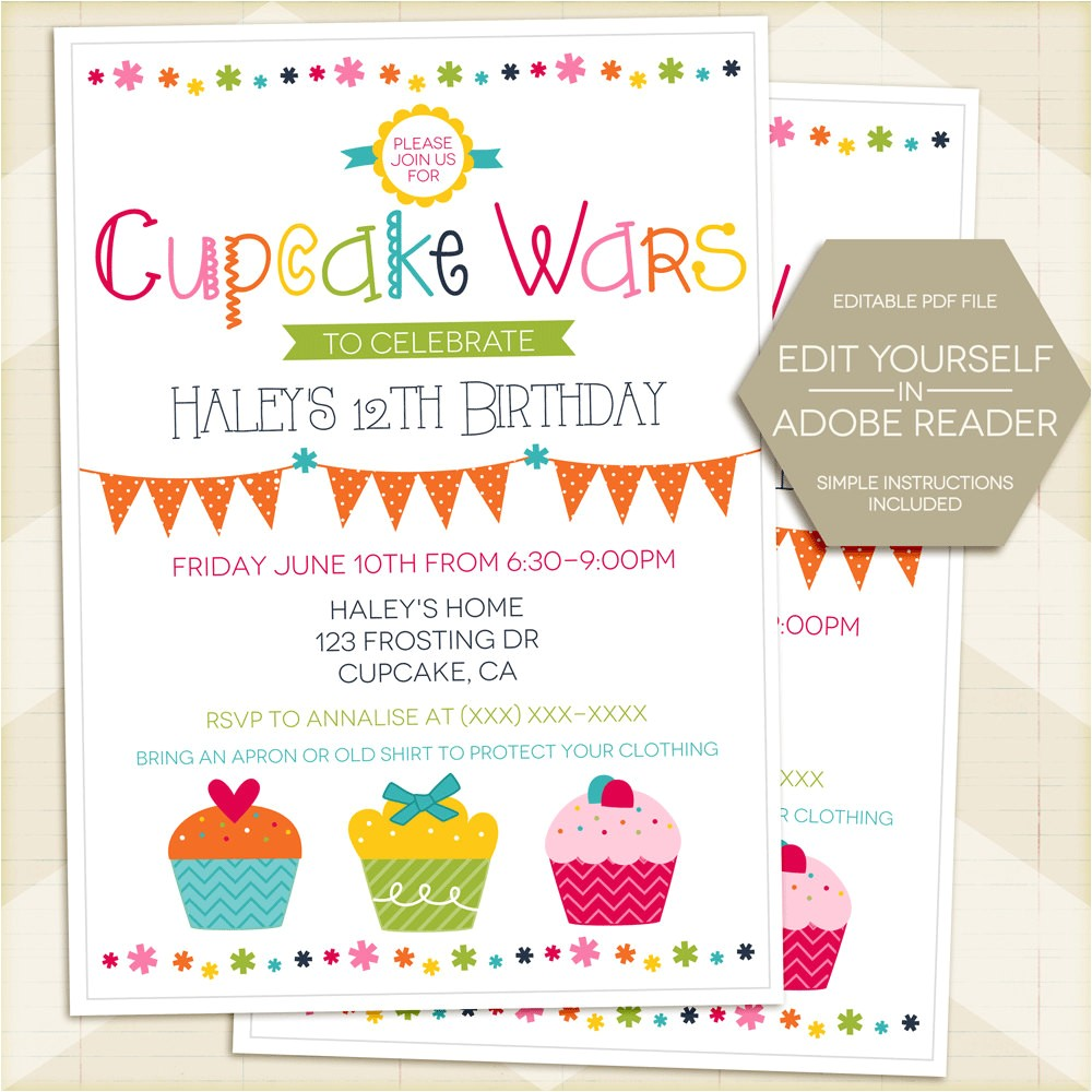 cupcake wars birthday party invitation