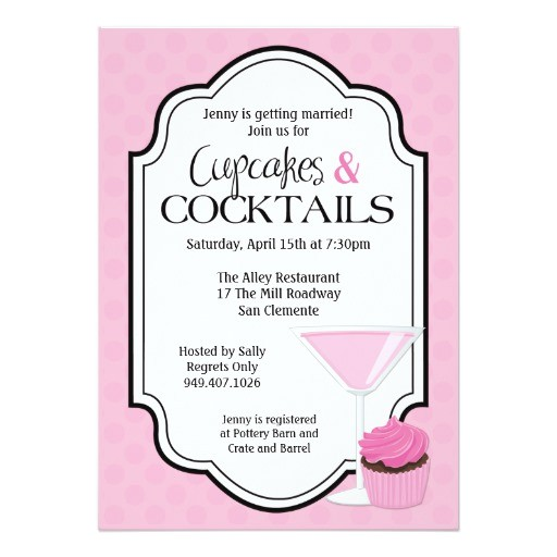 bridal shower cupcakes and cocktails invitation 161711208844613369