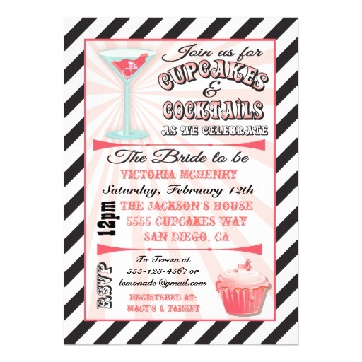 cupcakes and cocktails bridal shower invitations 161074192428391659