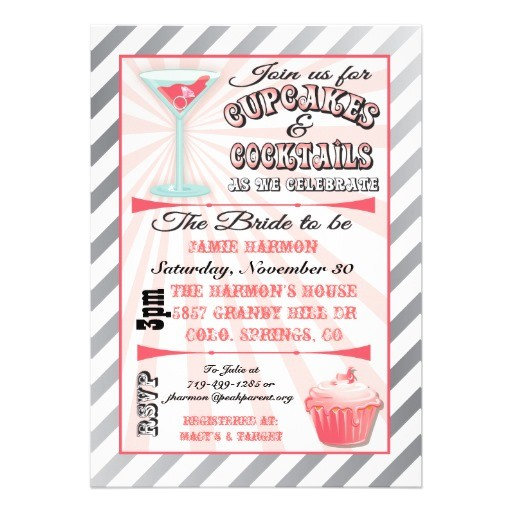 cupcakes and cocktails bridal shower invitations 161006321702955063