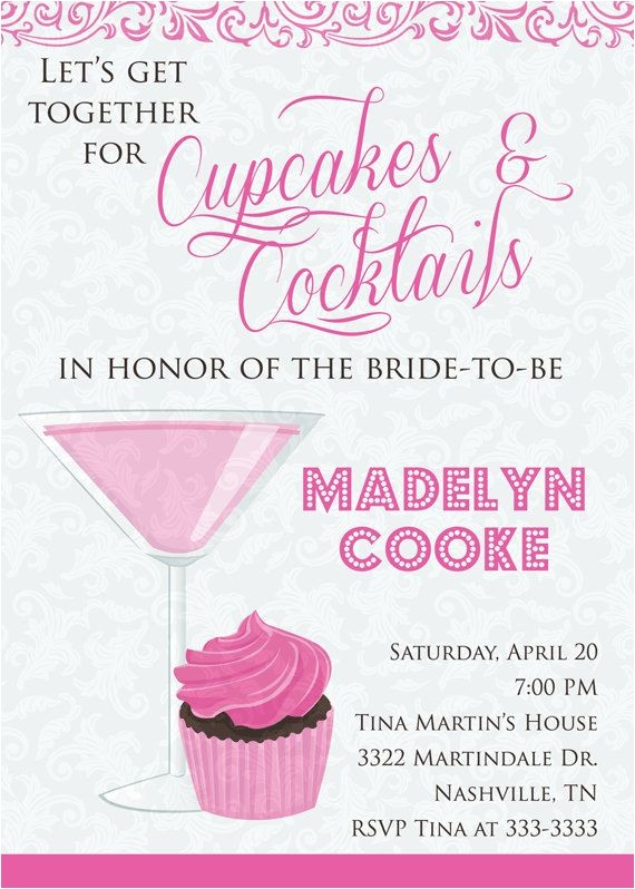 cupcakes and cocktails invitation cupcakes and cocktails bridal shower invite bachelorette party invitation any colors diy or printed