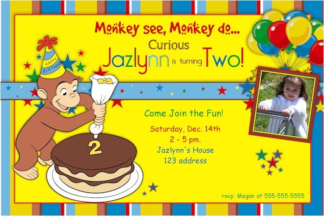 2nd curious george birthday invitations