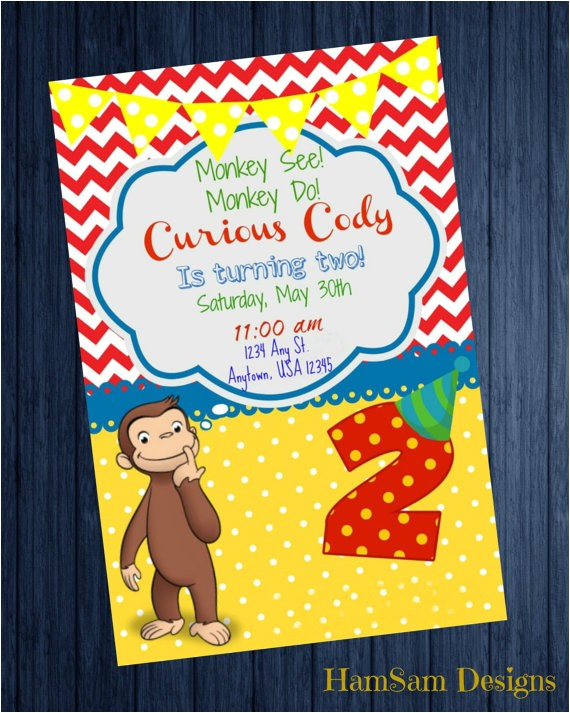 curious george 2nd birthday invitation