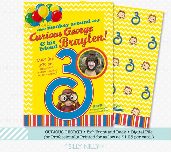 curious george birthday invitation 5x7