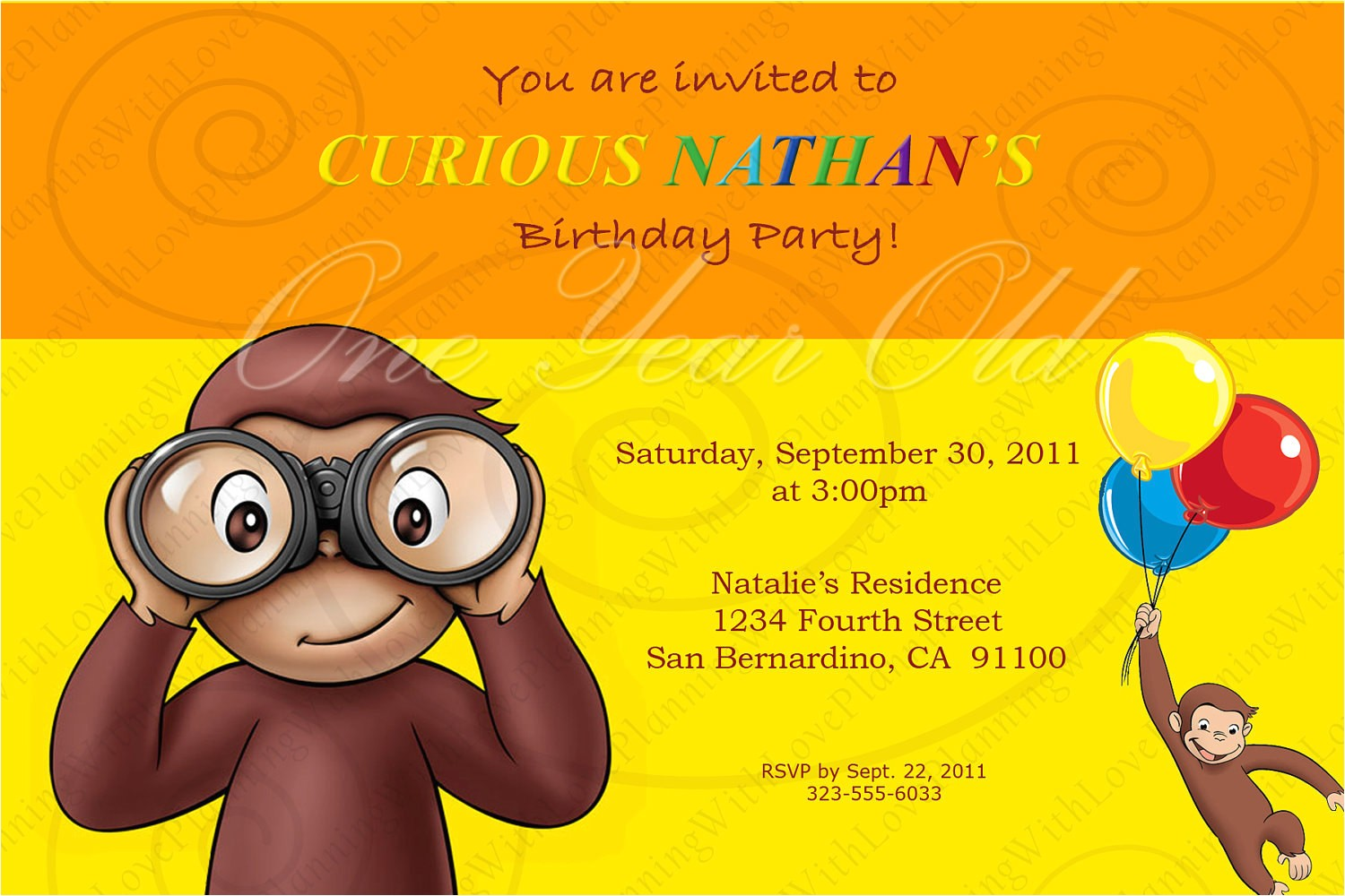 curious george invitation
