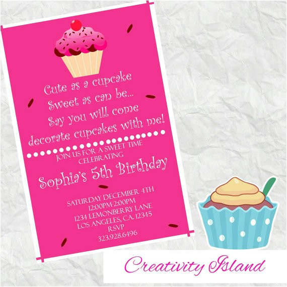 cute as a cupcake birthday invitation
