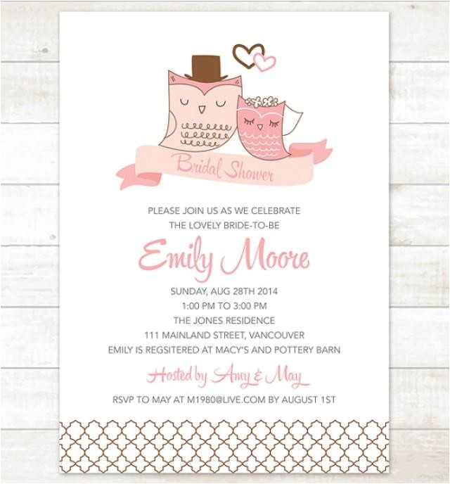 bridal shower invitation printable pink chocolate brown owls wedding invitation shower digital invite customizable personalized