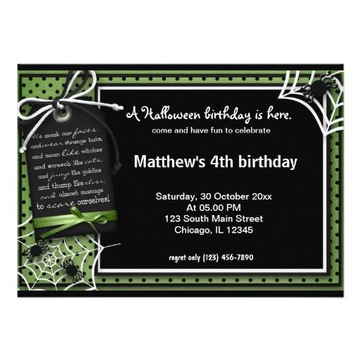spider halloween birthday custom invitation 161912640515753926
