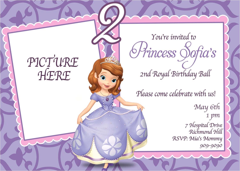 custom photo invitations sofia the first