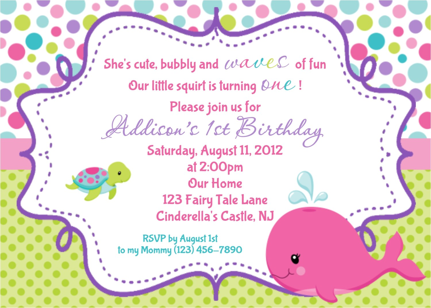 whale birthday invitation personalized