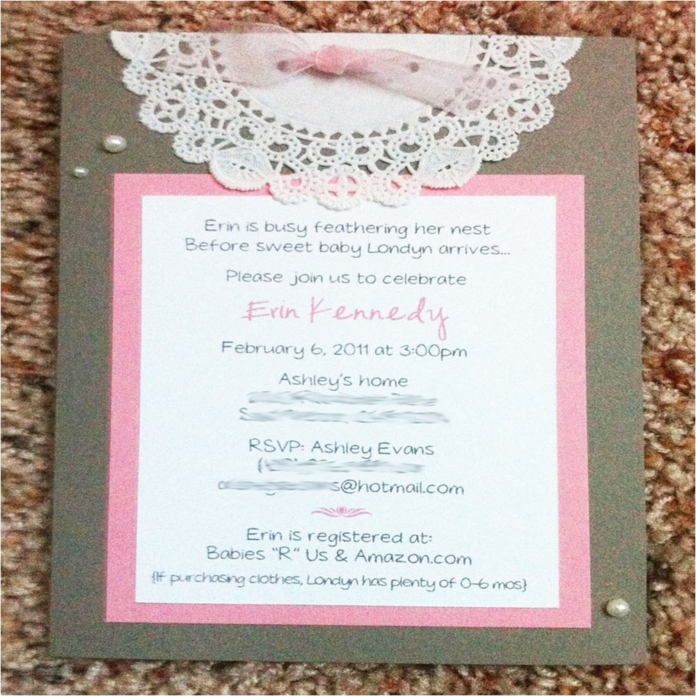 pearls lace baby or bridal shower invitations custom