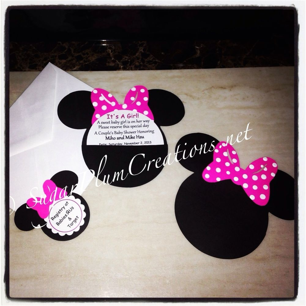 Custom Minnie Mouse Baby Shower Invitations 20 Custom Hand Made Minnie Mouse Baby Shower Invitations