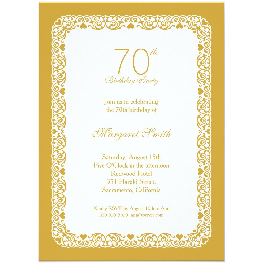 elegant personalized 70th birthday party invitations choose colors