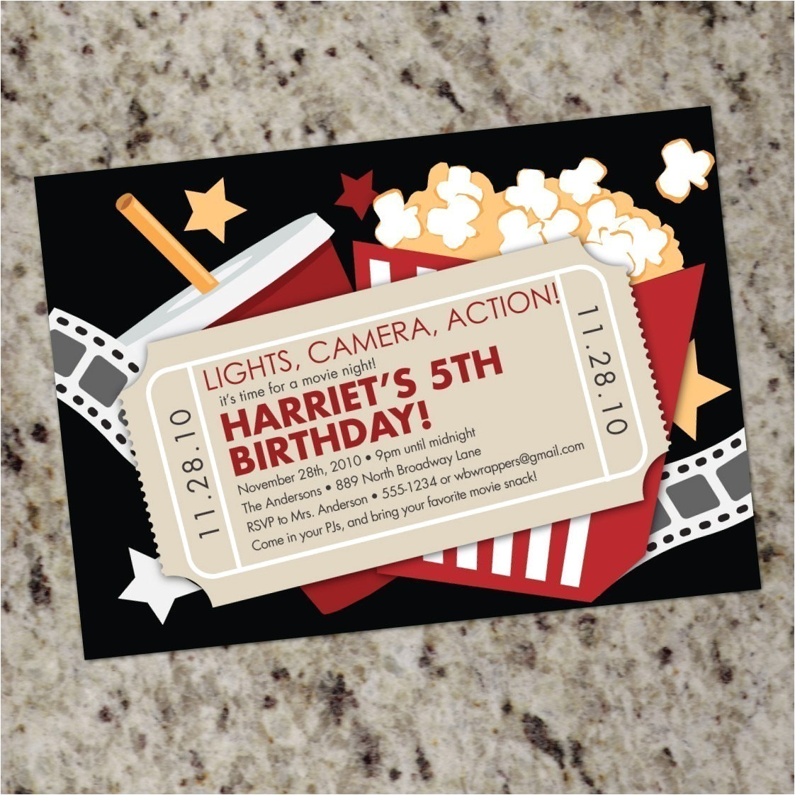 movie night custom party invitations