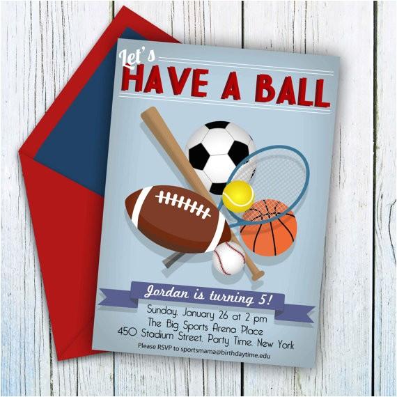 custom sports birthday invitation sports