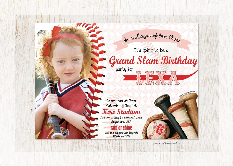 girls baseball birthday invitation