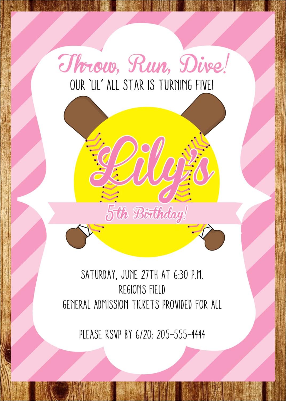 softball birthday invitation custom pink