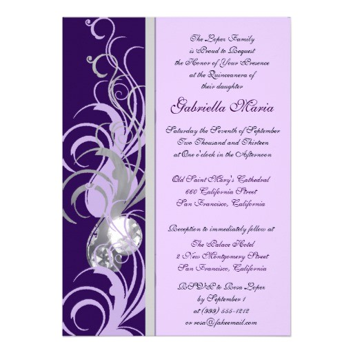 purple and silvery custom quinceanera invitations 161507141404716409