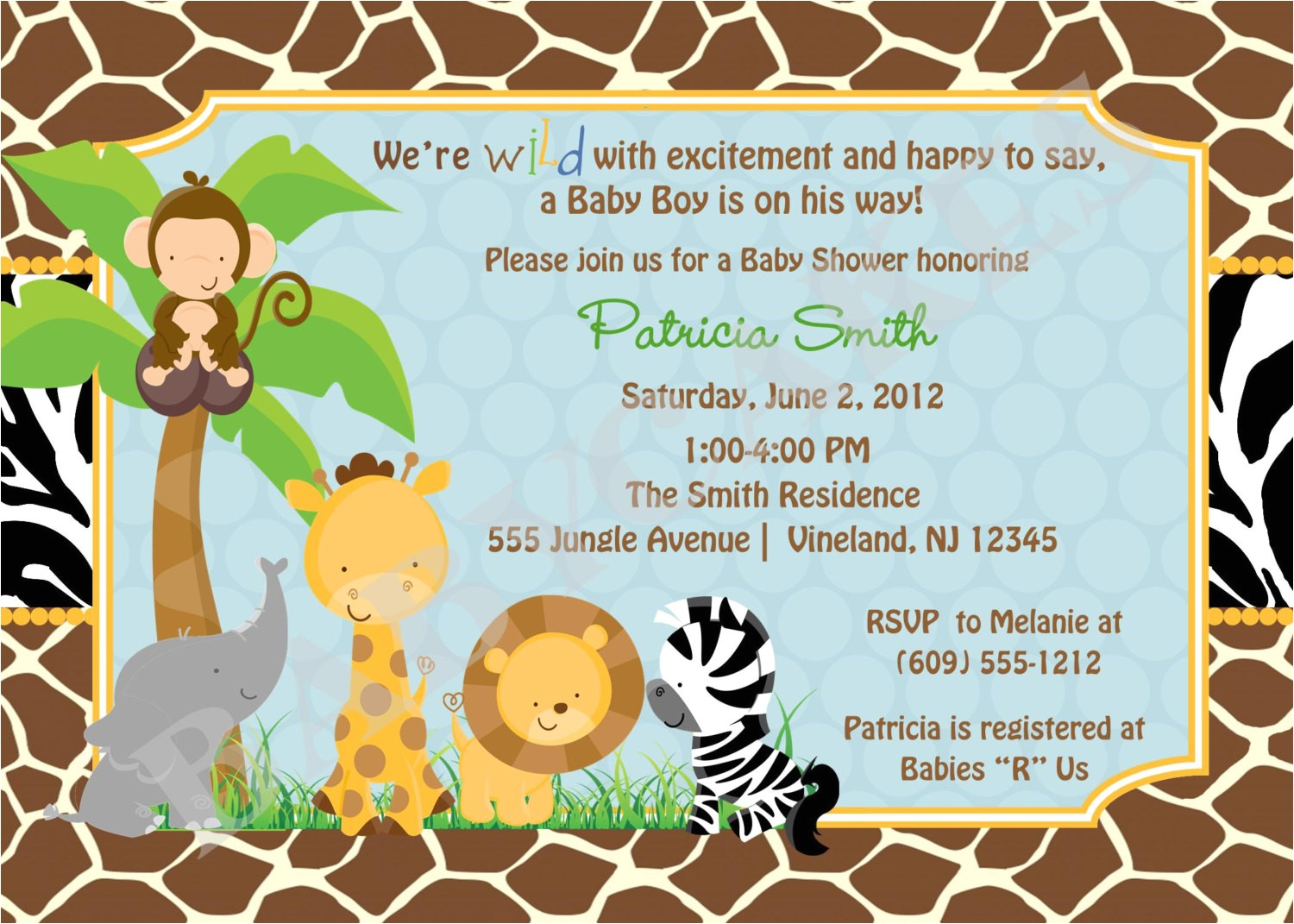 free printable jungle baby shower invitations