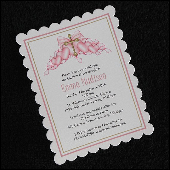 Customized Baptism Invitations Personalized Baptism Christening Invitations Pink Hearts with