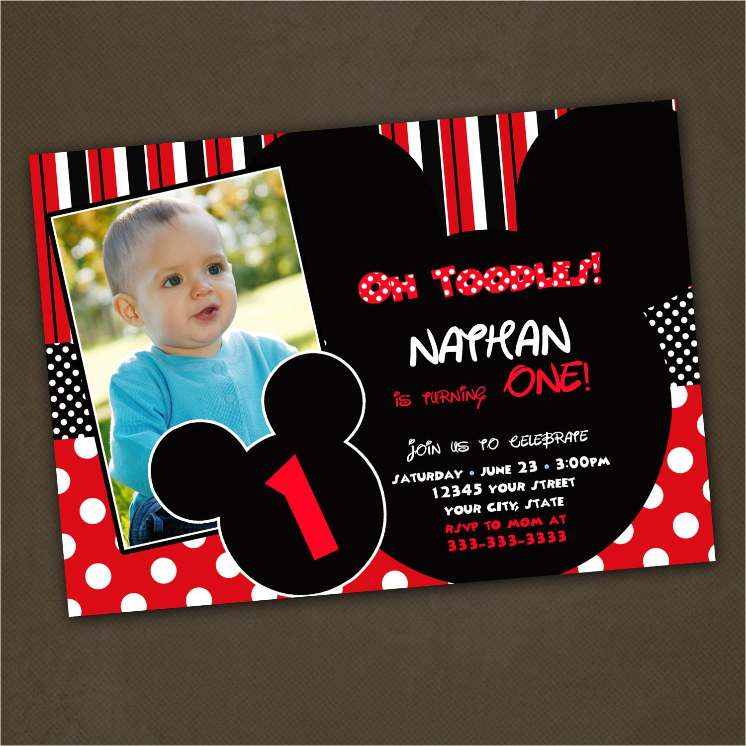 mickey mouse birthday invitations custom