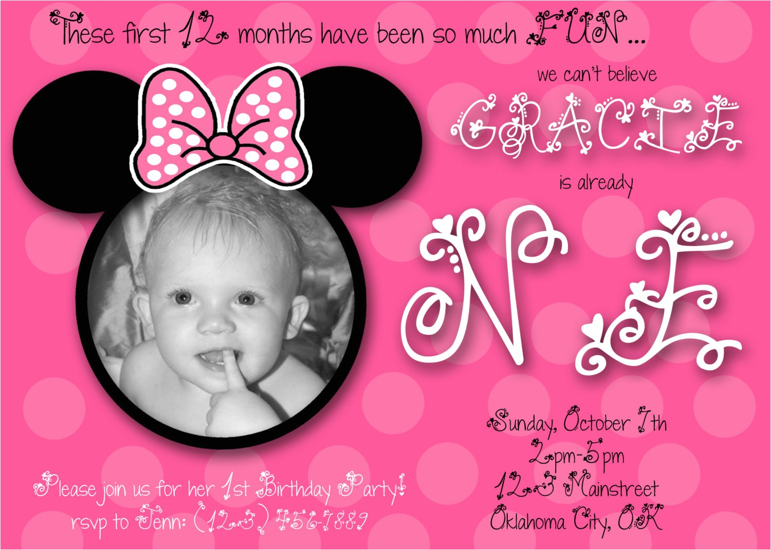 minnie mouse first birthday custom