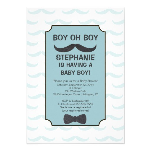 cute mustache boys baby shower invitation