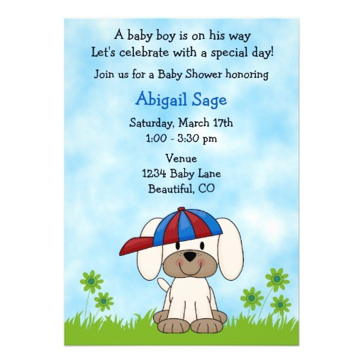 cute puppy baby shower invitation for boys