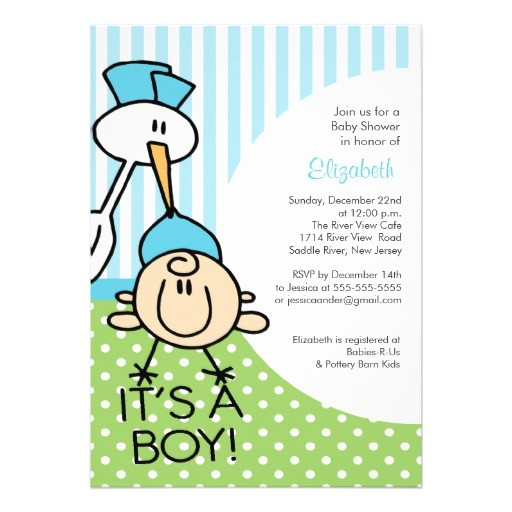 cute stork baby boy baby shower invitations
