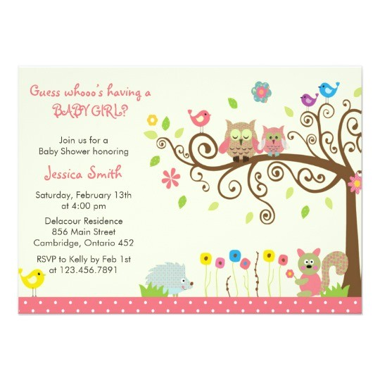 cute pink owl girl baby shower invitations 161470781854865883