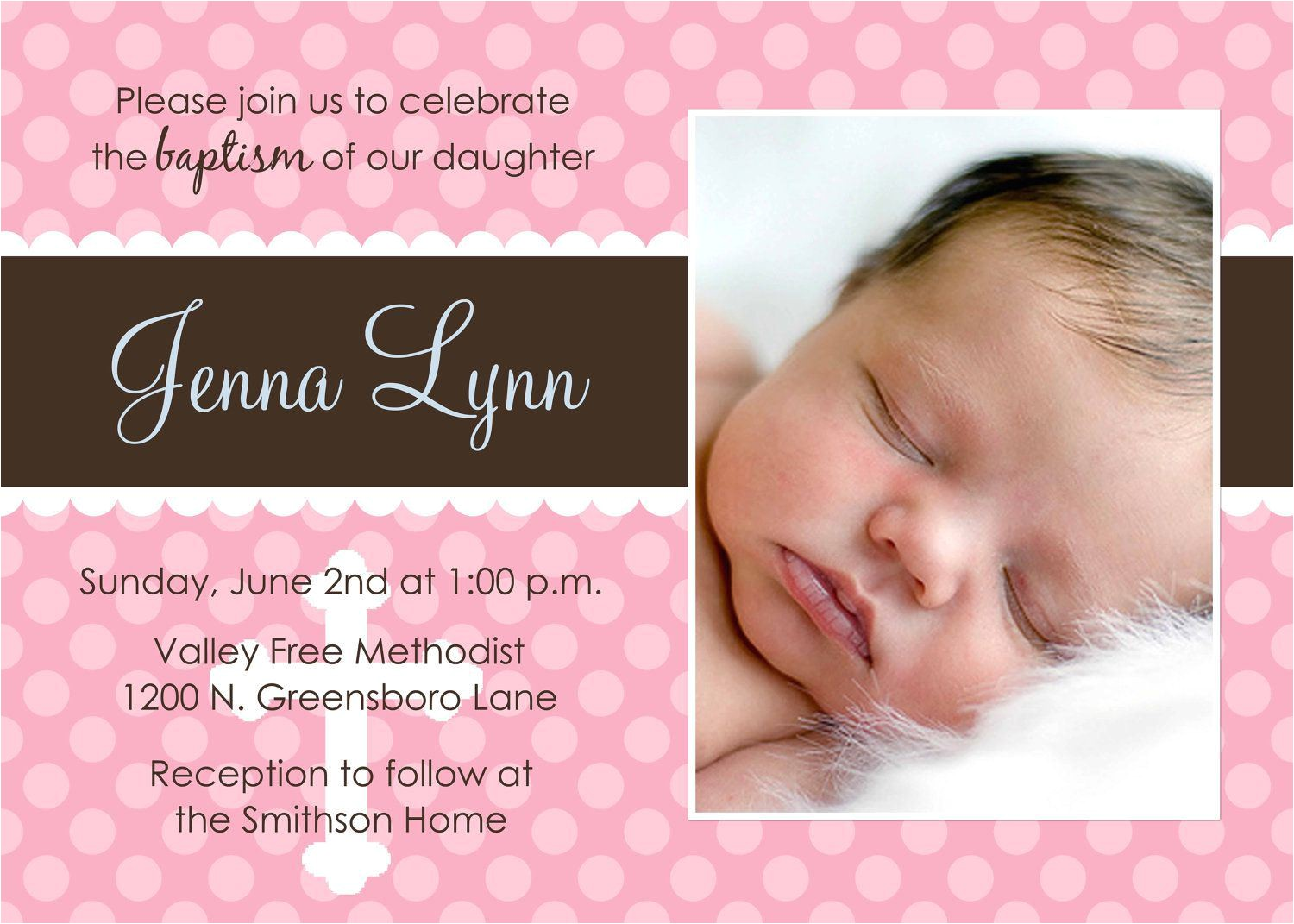 christening invitation baby girl